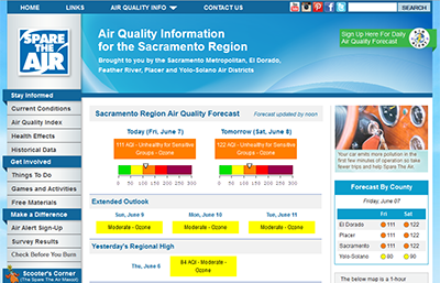 Air Quality Forecasting and Outreach Support for Sacramento, California