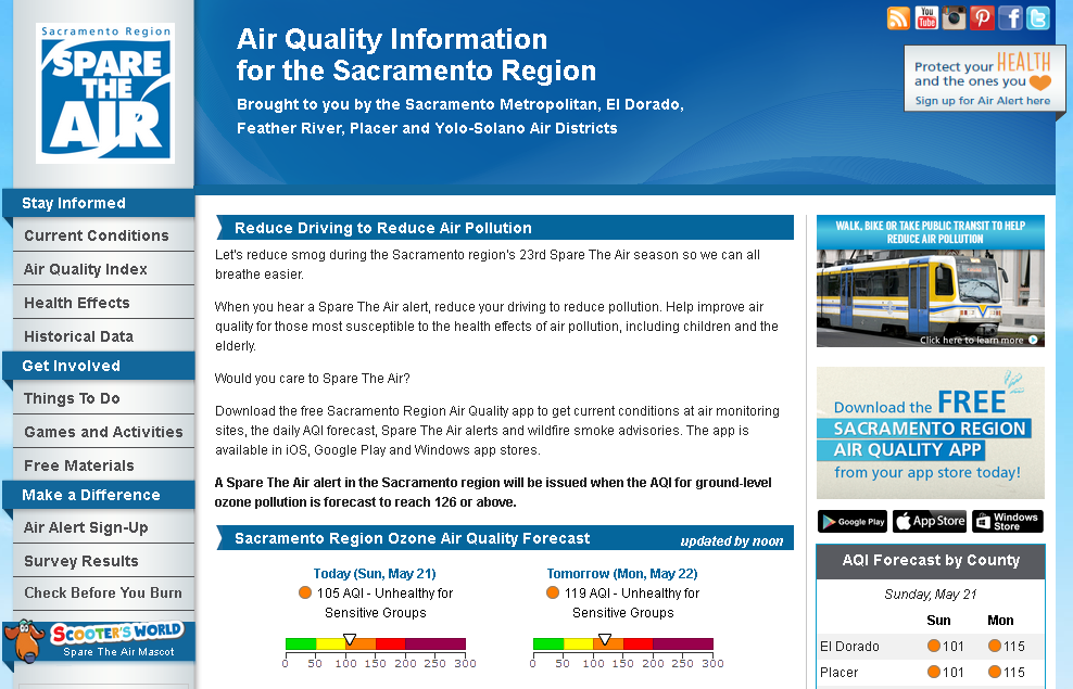 Enhancements to SpareTheAir.com Website, Air Alert Email System, and Mobile Air Quality App